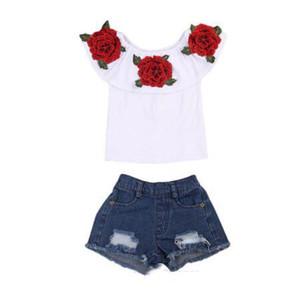 Vente chaude D'été Bébé Enfants Filles Vêtements 3D Fleur imprimer sans manches À Volants autour du cou pull T-Shirts Denim Trou Pantalon 2pc coton Ensemble