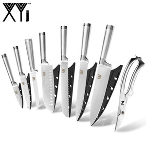 XYj 스테인레스 스틸 주방 나이프 세트 도구 요리사 슬라이스 Santoku 유틸리티 껍질 벗기기 뼈 칼 다기능 가위