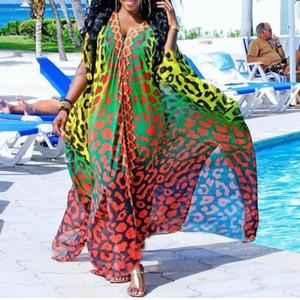 Manica corta casuale sexy di viaggio africani lunghi delle donne vestiti da estate allentato stampato leopardo profondo scollo a V femminile oversize Maxi Dress