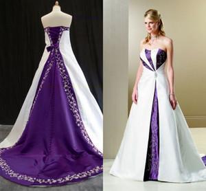 Weiß und lila Stickerei Brautkleider Land rustikale Vintage Braut Phantasie Kleider einzigartige trägerlosen plus size Sweep Zug