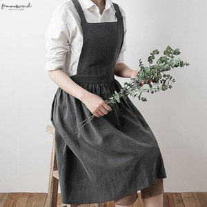 2020 Vintage Fashion Strap Dress Women Fake Linen Sleeveless Home Cooking Florist Cute Bib Apron Pinafore Dresses Twill Vestidos 830