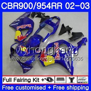 Corps bleu cadre jaune Pour HONDA CBR900RR CBR 954 RR CBR900 RR CBR954 RR 280HM.29 CBR 900RR CBR954RR 02 03 CBR 954RR 2002 2003 Kit carénages