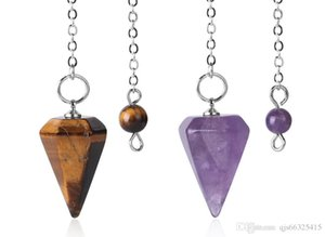 Small Size Reiki Pendulum Natural Stone Amulet Healing Crystal Pendant Meditation Hexagonal Pendulums for Men Women