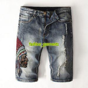 Les nouveaux hommes de haute qualité Jeans brodé Hommes Shorts Indian Personnalité Style Hot Denim Jeans Shorts