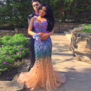 Major Beading Two Pieces Mermaid Prom Dresses 2020 Sweetheart Long Evening Dresses African Black Girl Formal Party Gowns Robe de Soiree