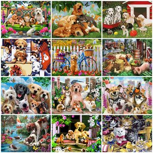 2020 Oil Painting By Numbers Dog Animal Kit Drawing On Canvas Wall Art HandPainted DIY Gift Home Decor