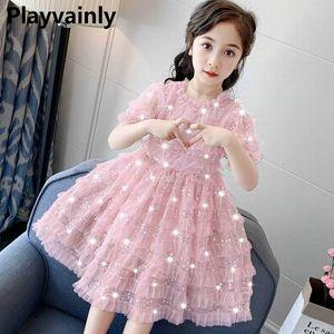 Girl Sequins Dress 2020 Summer New Girl Princess Dress Fluffly Tulle Tiered Fairy Skirt Kids Clothes SC001
