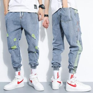 Designer Jeans Fashion Vintage Drape Washed Drawstring Mens Ankle Banded Pants Casual Males Clothing Hole Panelled Mens