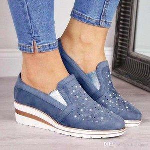 La nueva manera zapatos de diseño escotado Plataforma Pisos sandalia zapatos de las mujeres ocasionales con Strass Tamaño al aire libre de compras Formadores 43