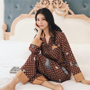 الكلاسيكية مطبوعة النساء ملابس نوم INS نمط لينة اللمس سيدة الحرير منامة مجموعة 2 نمط فاخر L أنثى نوم