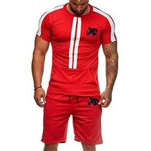 2019 brand t-shirt men's suit fashion summer mixed cotton sports suit T-shirt + shorts men's 2 sets of casual wear