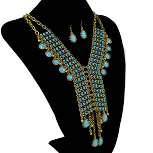 Bohemian Golden Gold Plated Chain Resins Beads Crystal Pendant Necklace Earring sets Women's Wedding Gift