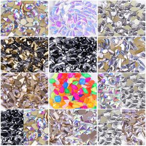 Cristalli Nail AB 100 Pezzi di arte del chiodo della parte posteriore piana gemme dei Rhinestones Misto di pietra del diamante per Abbigliamento Scarpe Arte Mestieri NR49S