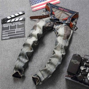 Mens Jeans 2019 New Arrival Fashion Casual Retro Patchwork Distrressed Hole Washed Men's Straight Jean Wholesale.