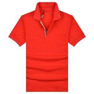 Мода The bur Brand мужские Поло тонкий лоскутное Поло рубашка короткие дизайнерские хлопчатобумажные топы черный белый красный поло-рубашки оптом m,l, xl, xxl