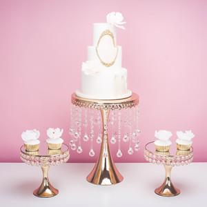 la boda de cristal de lujo 2019 de oro de altura grandes piezas centrales de la torta del soporte de exhibición fondant macarrón magdalena decoración de pasteles postre candybar
