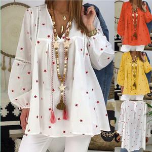 Blusa de las mujeres camisetas Vintage cuello en V de la estrella Las tapas impresas ahueca hacia fuera el largo de la manga de la linterna Shirts Mujeres sólido camisas sueltas