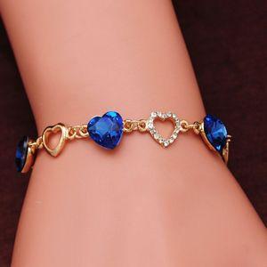 Guvivi pulseras del corazón románticas para Mujeres Color Oro encanto cristalino brazaletes de las pulseras brazalete de joyería de moda femme Bijoux