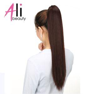 80g Ponytail Çevresinde 100g Wrap saç uzatma ALI GÜZELLİK% 100 İnsan Saç Ponytails Remy Avrupa Düz Klip