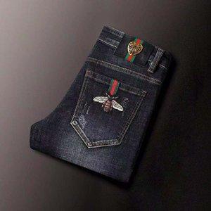 2020 new men's designer jeans designer design casual straight pants men's jeans men's cotton plus velvet pants   size 29-42