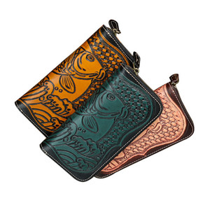 Cool2019 Original Night Wind Long Fund Ma'am Manual Embossing Animal Recruit The Fish Zipper Wallet