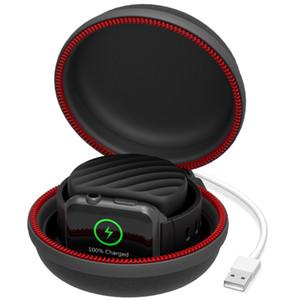 حامل شحن قفص الاتهام ، حامل شاحن مع غطاء صندوق تخزين سفري مقاوم للماء لـ Apple Watch Series 4 ، Series 3 ، 2،1 Black