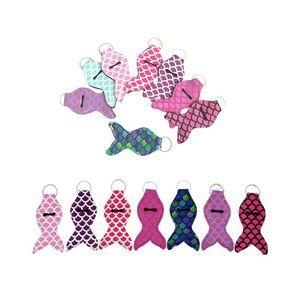 Neopren Chapstick Halter Mermaid Schwanz Lippenstift Kasten-Abdeckung Tragbare Mermaid Chapstick Halter Schlüsselanhänger CCA12235 120pcs