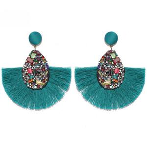 14 Farben New Bohemian Statement Troddel-Ohrringe Weinlese ethnische Tropfen baumeln Fringe Fashion Jewelry Druzy Ohrringe Damenschmuck Geschenke