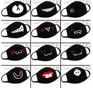 Unisexe Cartoon drôle dents Lettre bouche noire coton moitié bouche Masque anti-bactérien poussière hiver chaud Masques Mignon En stock !!!