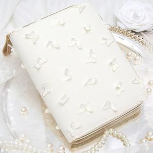 Yiwi A6 Kinbor Hobo del estilo 3D de la mariposa blanca con cremallera bolsa Planificador creativo cuaderno del diario con el año mensuales cuadrícula de relleno Páginas