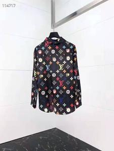 19SS diseño delgado apto de las camisas de la medusa de las SS = 2019 floral del oro impresión en 3D de vestir para hombre camisas de manga larga Camisas ocasionales del negocio Ropa Hombres