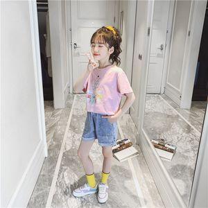 Cute Baby Outfits Clothes Set Children Cartoon Rabbits Cotton Tshirt Tops + Denim Shorts Teens Fashion Clothes Set for A Girl