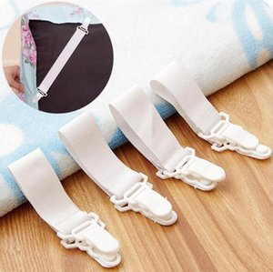 White Bed Sheet Mattress Cover Blankets Grippers Straps Suspenders Clip Holder Elastic Fasteners 4 Pc Lot