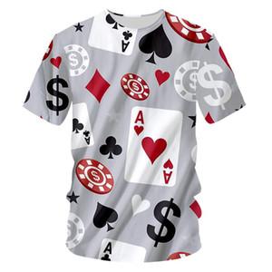 مضحك بوكر تي شيرت الرجال النساء المتناثرة 3D لعبة البوكر الطباعة أزياء تي شيرت الصيف كبير جدا تي شيرت 7XL الهيب هوب ملابس رجالي