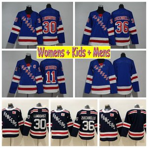 2018 Ladies 뉴욕 레인저스 하키 유니폼 30 Henrik Lundqvist 36 Mats Zuccarello 11 Mark Messier Kids Womens Mens Hockey Shirts