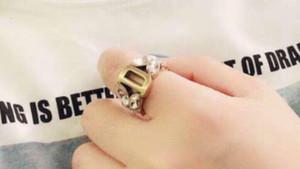 donne anello di diamanti gioielli Anelli Classica tendenza personalità ottone mosaico quadrifoglio Vernice trasporto di alta qualità