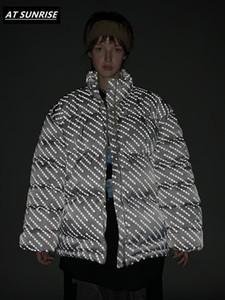 Reflexivo Jaqueta 2019 homens / mulheres Grosso Inverno parkas corta-vento bar Streetwear Blusão Harajuku encabeça casaco bolha