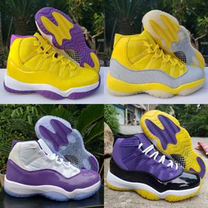 2020 nuevos zapatos de alta 11 XI WMNS plata metálico amarillo blanco púrpura 11s para hombre de baloncesto de Jumpman entrenadores deportivos zapatillas de deporte Tamaño 13