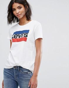 Yaz Yeni kadınlar o-boyun gündelik gevşek kısa kollu gömlek baskılı mektup gömlek kadın giysileri üstleri tee S ~ XXL