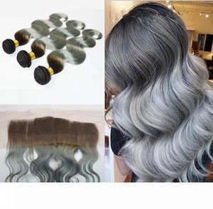 Brazilian Silver Grey Ombre Hair With Lace Frontal Closure 4Pcs Lot 10A Body Wave #1B Grey Two Tone Brazilian Hair 3Bundles With Frontals