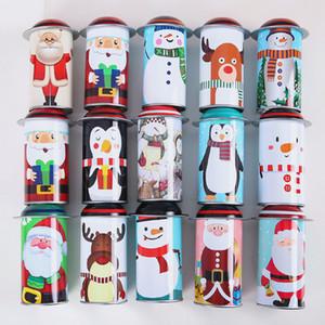 금속 라운드 아이 선물 케이스 기둥 모양 사탕 항아리 크리스마스 산타 클로스 사탕 상자 뜨거운 판매 4 78qy J1