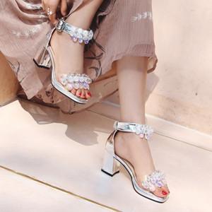 Nouvelles dames chiot sandales talon femme 7CM 5CM chaussures habillées fashion cristal strass sandale ornement boucle fête de la fille super chaussures argent