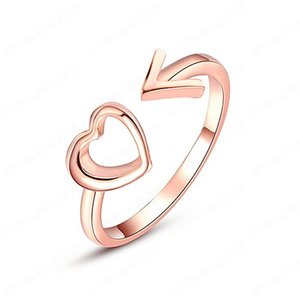 Simple Classic Peach Heart Shaped Rings for Women Temperament Simple Hollow Love Opening Ring Valentine's Day Jewelry Gift