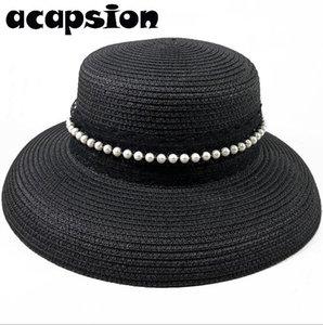 Femmes chapeaux de soleil d'été à large Brim chapeaux de paille Nouveau naturel Noir Casual Floppy Plage Canotier Caps Visor