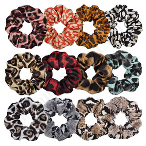Women Dot Plaid Elastic Hair Bands Xmas Leopard Striped Scrunchy Hairbands Rubber Ponytail Holder Rope Ties Girls Hair AccessoriesC121009