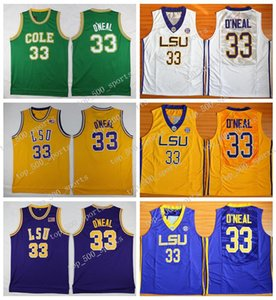 Mens Shaq O'NEAL Basketball Jerseys Shaquille Oneal 33 COLE High School Basketball Jersey LSU Tigers Stitched College Basketball Shirts