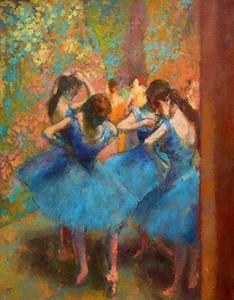 Edgar Degas Pintado À Mão HD Impressão impressionismo Retrato Arte Pintura A Óleo Dançarinos Azuis Em Alta Qualidade Canva p211