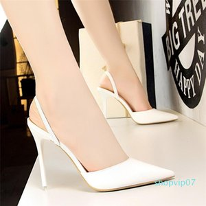 Hot2019 High Summer Sexy Patent Leather Shallow Mouth Sharp Single Fine Shoes With Baotou One Word Bring Woman Drag Sandals