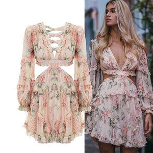 Fashion Designer rose creux de la piste Robe Out Femmes en mousseline de soie imprimé floral Volants Mini robe sexy dos nu profond col V