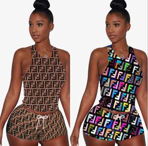 Designer para sexy Double F impressão womens wear na Europa e América logotipo da caixa das mulheres 2 peça mulher set Vogue treino